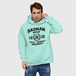 Толстовка оверсайз мужская BAUMAN University цвета мятный — фото 2