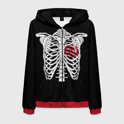 Толстовка 3D на молнии мужская Кукрыниксы: Скелет цвета 3D-красный — фото 1