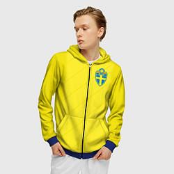 Толстовка 3D на молнии мужская Сборная Швеции: Домашняя ЧМ-2018 цвета 3D-синий — фото 2