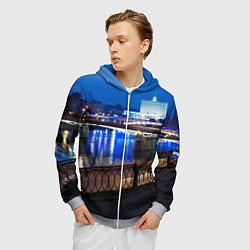 Толстовка 3D на молнии мужская Москва цвета 3D-меланж — фото 2