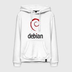 Толстовка-худи хлопковая мужская Debian цвета белый — фото 1