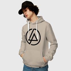 Толстовка-худи хлопковая мужская Linkin Park: Sybmol цвета миндальный — фото 2