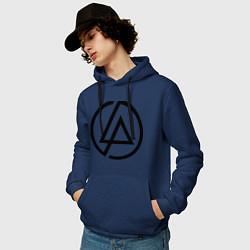 Толстовка-худи хлопковая мужская Linkin Park: Sybmol цвета тёмно-синий — фото 2