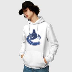 Толстовка-худи хлопковая мужская Vancouver Canucks цвета белый — фото 2
