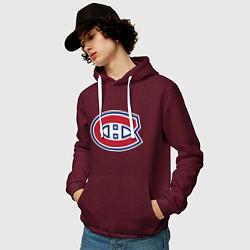 Толстовка-худи хлопковая мужская Montreal Canadiens цвета меланж-бордовый — фото 2