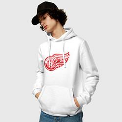 Толстовка-худи хлопковая мужская Detroit Red Wings цвета белый — фото 2