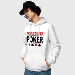 Толстовка-худи хлопковая мужская World series of poker цвета белый — фото 2