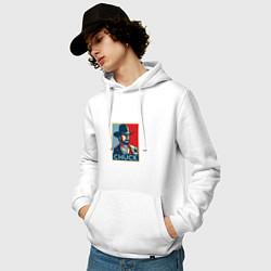 Толстовка-худи хлопковая мужская Chuck Poster цвета белый — фото 2