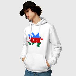 Толстовка-худи хлопковая мужская Azerbaijan map цвета белый — фото 2