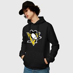 Толстовка-худи хлопковая мужская Pittsburgh Penguins цвета черный — фото 2
