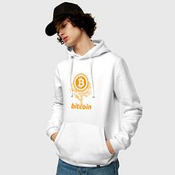Толстовка-худи хлопковая мужская Bitcoin Tree цвета белый — фото 2