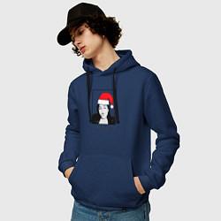 Толстовка-худи хлопковая мужская Sasha Grey Santa цвета тёмно-синий — фото 2