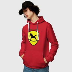 Толстовка-худи хлопковая мужская Ferrari: Kid Horse цвета красный — фото 2