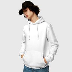 Толстовка-худи хлопковая мужская Скриптонит цвета белый — фото 2