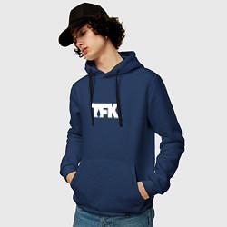 Толстовка-худи хлопковая мужская TFK: White Logo цвета тёмно-синий — фото 2