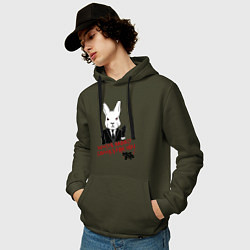 Толстовка-худи хлопковая мужская Misfits: White rabbit цвета хаки — фото 2