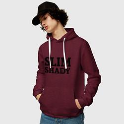 Толстовка-худи хлопковая мужская Slim Shady: Big E цвета меланж-бордовый — фото 2