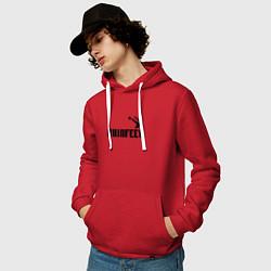 Толстовка-худи хлопковая мужская Akinfeev Style цвета красный — фото 2