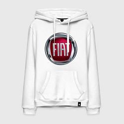 Толстовка-худи хлопковая мужская FIAT logo цвета белый — фото 1