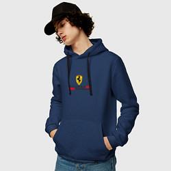 Толстовка-худи хлопковая мужская Scuderia Ferrari цвета тёмно-синий — фото 2