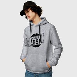 Толстовка-худи хлопковая мужская Made in 1991 цвета меланж — фото 2