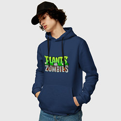 Толстовка-худи хлопковая мужская Plants vs zombies цвета тёмно-синий — фото 2