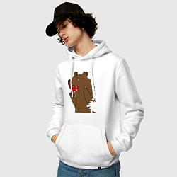 Толстовка-худи хлопковая мужская Медведь цензурный цвета белый — фото 2