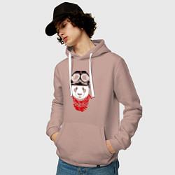 Толстовка-худи хлопковая мужская Панда байкер цвета пыльно-розовый — фото 2