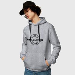 Толстовка-худи хлопковая мужская Made in Chelyabinsk цвета меланж — фото 2