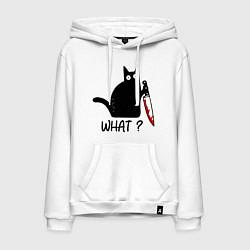 Толстовка-худи хлопковая мужская What cat цвета белый — фото 1