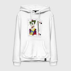 Толстовка-худи хлопковая мужская Joker Cards цвета белый — фото 1