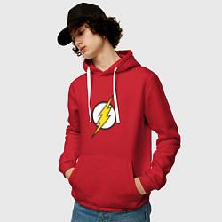 Толстовка-худи хлопковая мужская Flash цвета красный — фото 2