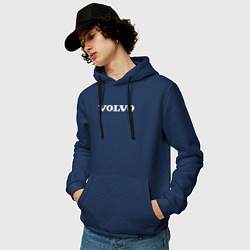 Толстовка-худи хлопковая мужская VOLVO цвета тёмно-синий — фото 2