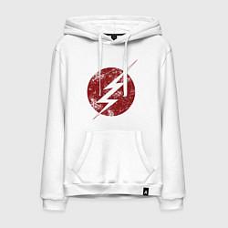 Толстовка-худи хлопковая мужская The Flash logo цвета белый — фото 1