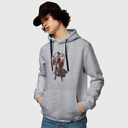 Толстовка-худи хлопковая мужская Sindel цвета меланж — фото 2