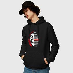 Толстовка-худи хлопковая мужская La Casa de Papel Z цвета черный — фото 2