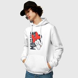Толстовка-худи хлопковая мужская Минни цвета белый — фото 2