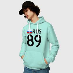 Толстовка-худи хлопковая мужская RUS 89 цвета мятный — фото 2