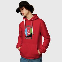 Толстовка-худи хлопковая мужская Азербайджан цвета красный — фото 2