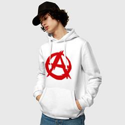 Толстовка-худи хлопковая мужская Символ анархии цвета белый — фото 2
