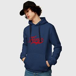 Толстовка-худи хлопковая мужская Fargo цвета тёмно-синий — фото 2