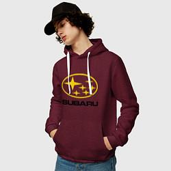 Толстовка-худи хлопковая мужская Subaru Logo цвета меланж-бордовый — фото 2