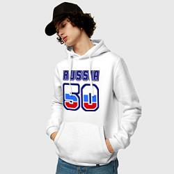 Толстовка-худи хлопковая мужская Russia - 50 Московская область цвета белый — фото 2