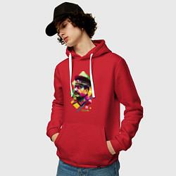 Толстовка-худи хлопковая мужская Stalin Art цвета красный — фото 2