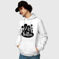 Толстовка-худи хлопковая мужская The Beatles Band цвета белый — фото 2