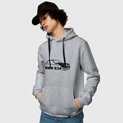 Толстовка-худи хлопковая мужская E34 цвета меланж — фото 2
