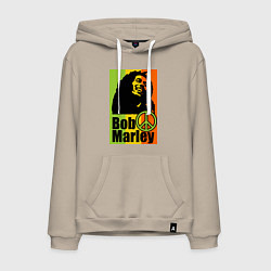 Толстовка-худи хлопковая мужская Bob Marley: Jamaica цвета миндальный — фото 1
