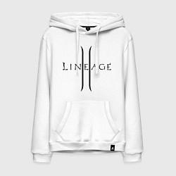 Толстовка-худи хлопковая мужская Lineage logo цвета белый — фото 1