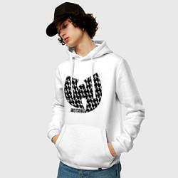 Толстовка-худи хлопковая мужская Wu-Tang Clan: Symbol цвета белый — фото 2