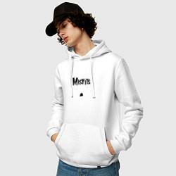 Толстовка-худи хлопковая мужская Отбросы цвета белый — фото 2